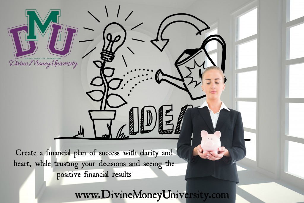 Composite image of blonde businesswoman holding pink piggy bank